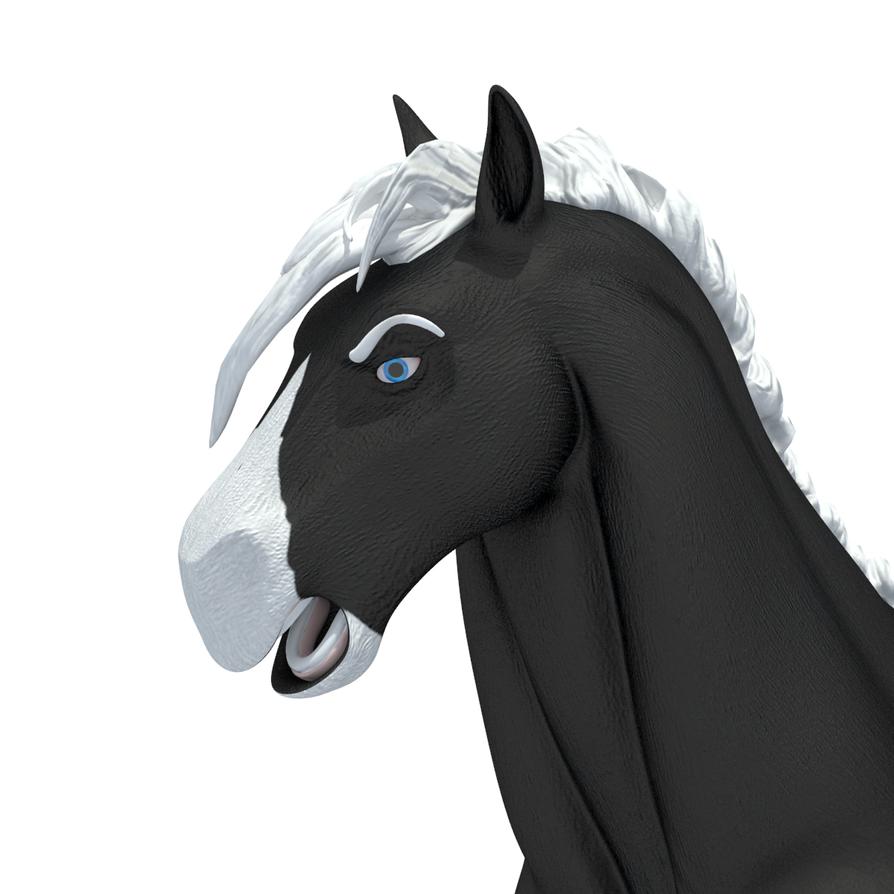 Close Up Characters Cartoon 01 : Cartoon horse character close up on head by koyima