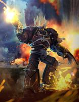 Chaos Marine in combat by koyima