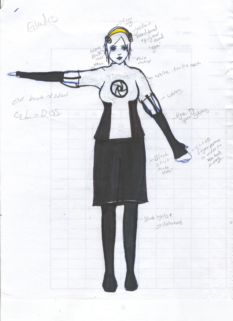 GLaDOS Costume Sketch by MadameMika
