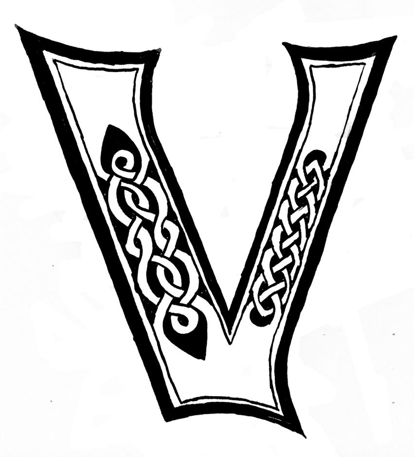 celtic letter v - Template