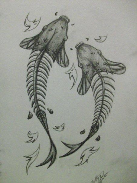 skele koi tattoo design by xbrokendaydream on deviantart. Black Bedroom Furniture Sets. Home Design Ideas