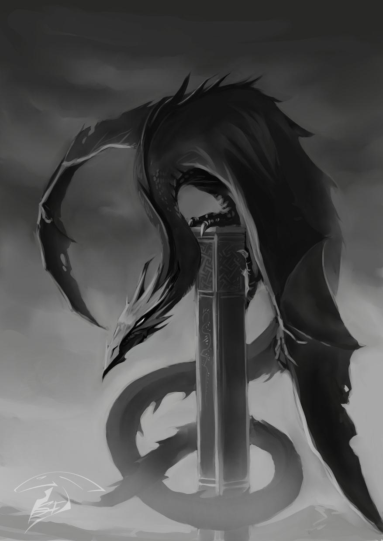 Dragon on the obelisk by Super-Furet