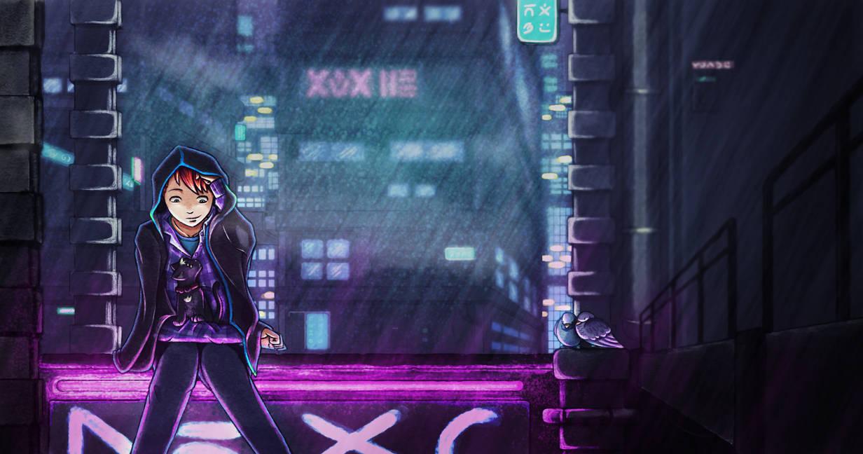 Cyberpunk in the rain by TardisGhost