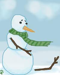 Sad Snowman by crimsonkitsune