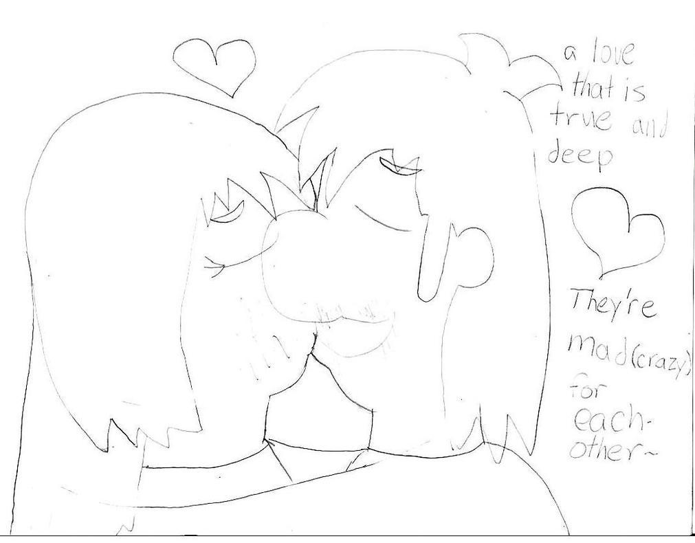 luigiXmariana kiss: sketch by MarioXMariana