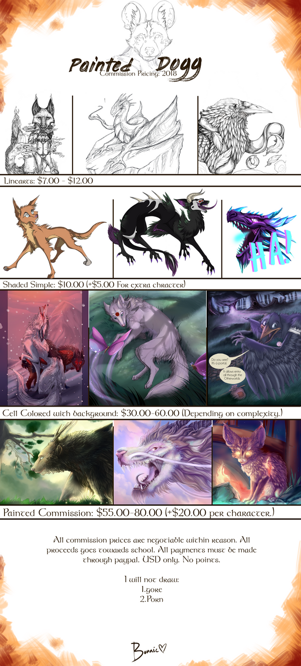 Commission Prices: 2018 by ThePaintedDog