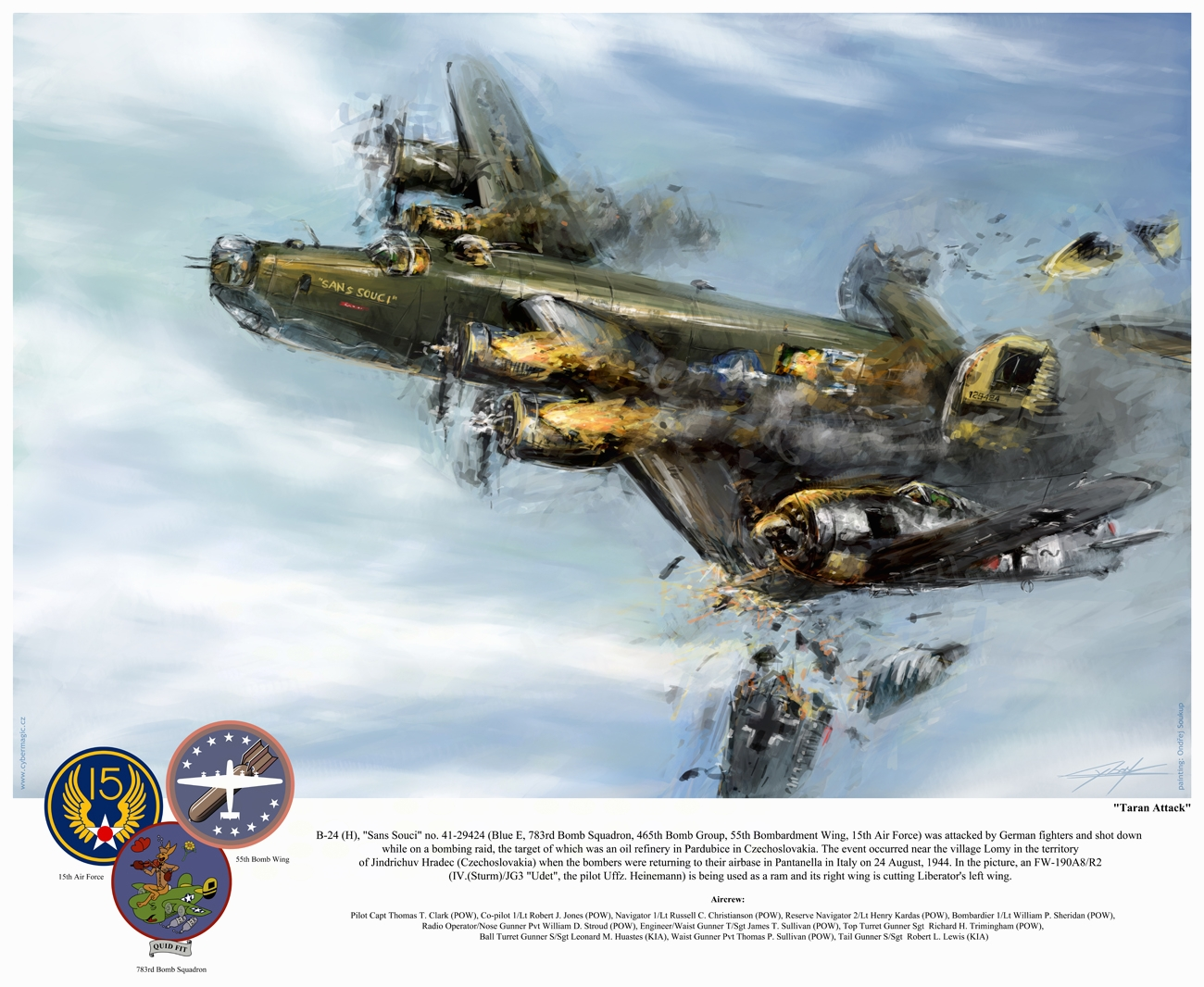 World War 2: B24 Sans Souci 'Taran attack' by VitoSs