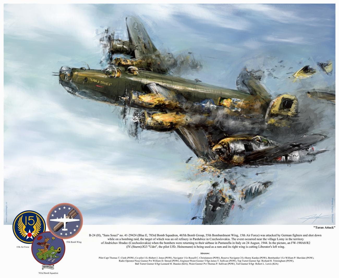 World War 2: B24 Sans Souci 'Taran attack' by VitoSs