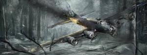 World War 2: B-17 'Falling Beauty' by VitoSs