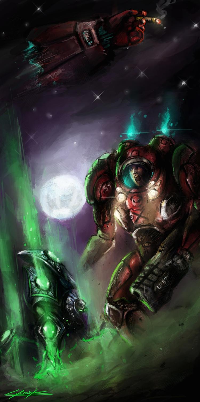 starcraft 2 : heart of the swarm marine vs stalker by VitoSs