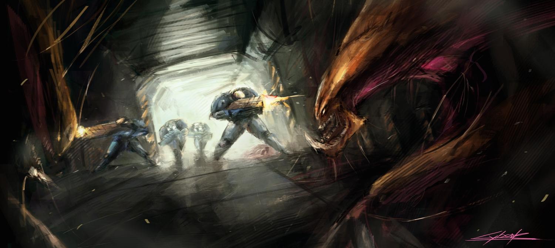 starcraft 2 : marines vs hydralisks by VitoSs
