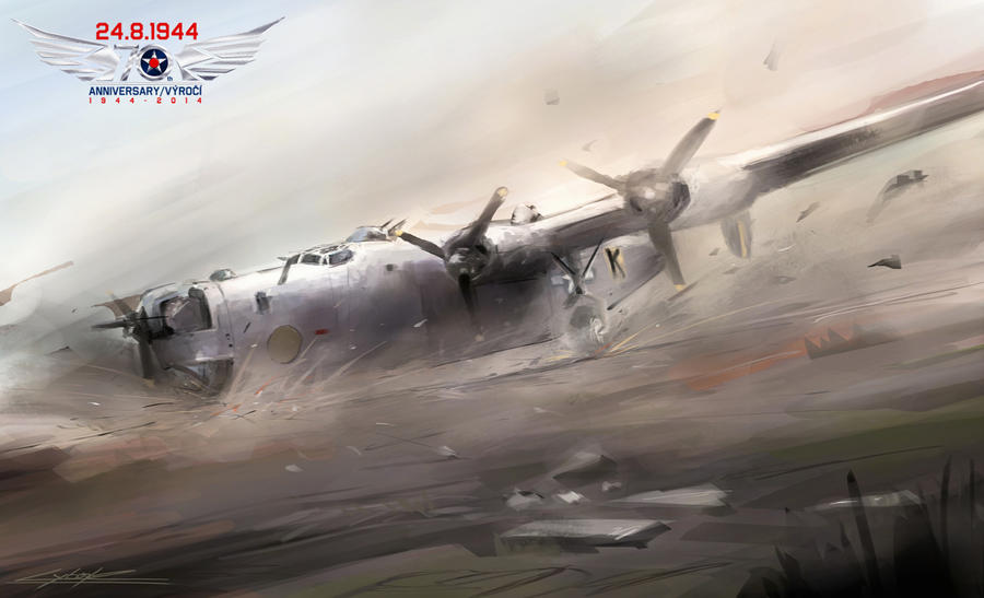 B-24J Black K- landing without brake by VitoSs
