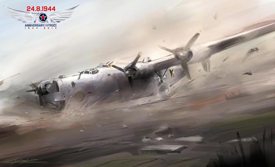 B-24J Black K- landing without brake by VitoSs