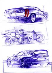 3 car sketches