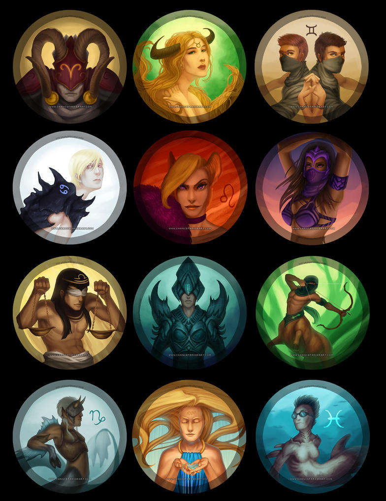 Western Astrological Zodiac by Wolf-Daemon