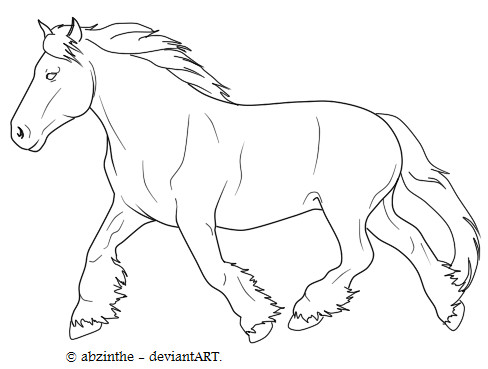 draft horse coloring pages - belgian draft lineart by abzinthe on deviantart