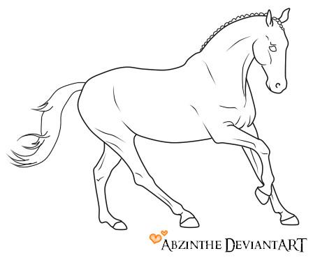Running Horse Lineart By Abzinthe On Deviantart