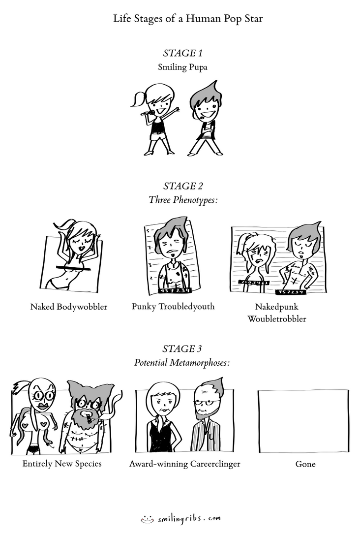 Life Stages of a Human Pop Star by inkblort