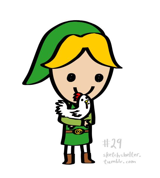 doodle request 29: link hugging a chicken by inkblort