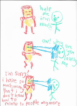 weird crayon iron man comic