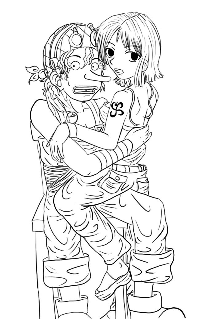 Nami Lineart : Usopp and nami lineart by scuzme on deviantart