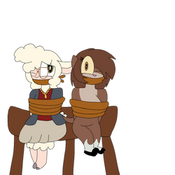 Bellwether and Marlene tied up (Art Trade)