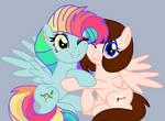 Rainbow Blitz and Breanna hugging each other