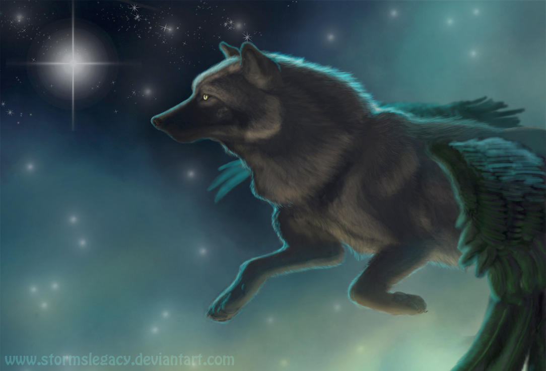 Wolf Flying Through The Stars by Stormslegacy