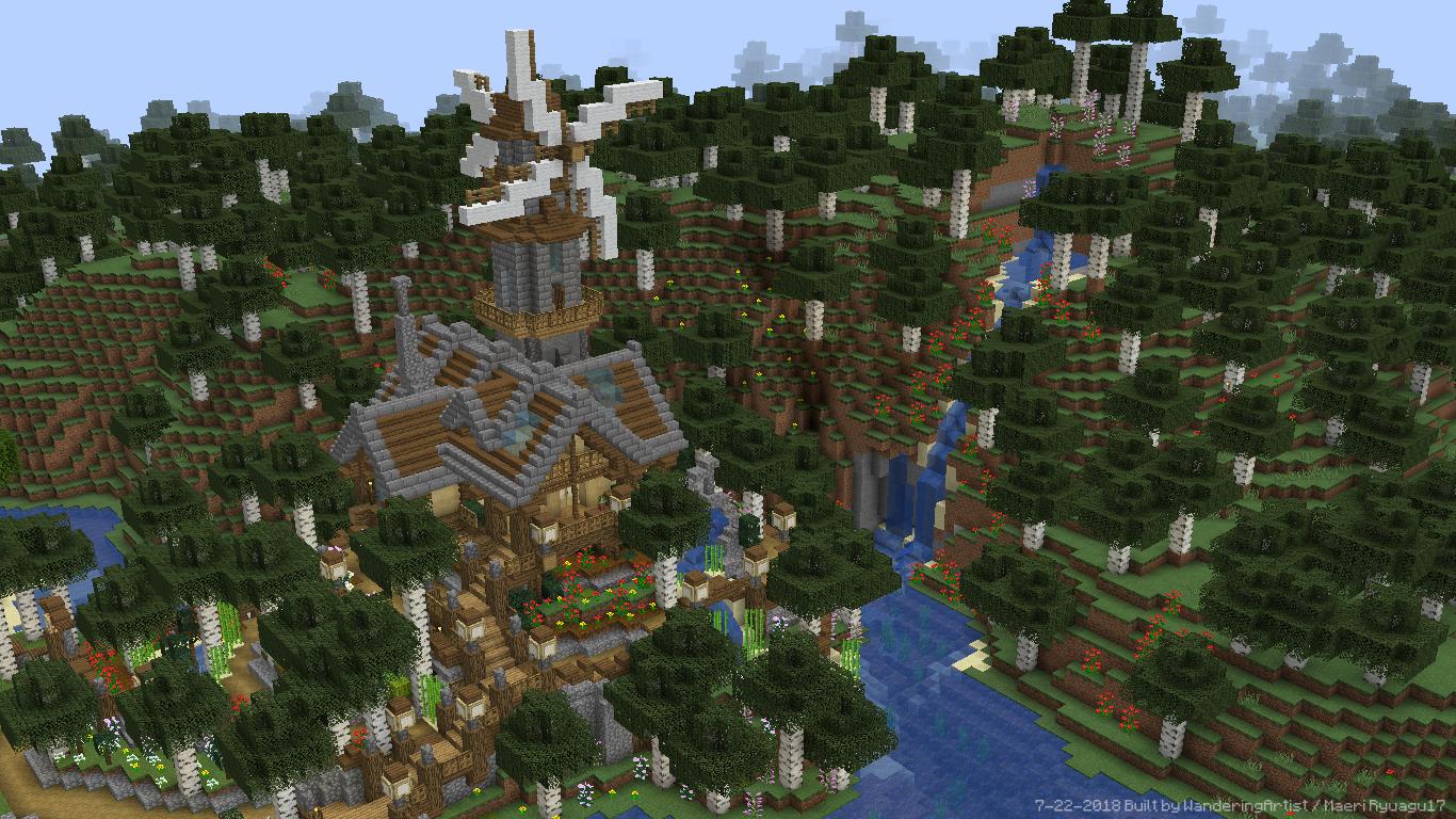 Minecraft Birch Lake Windmill House By Maeriryuagu17 On Deviantart