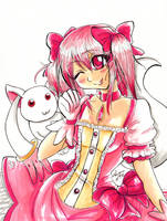 Madoka and Kubey by Laurence-L