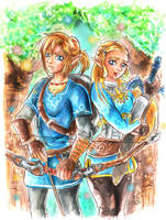 Link and Zelda- Breath of The Wild by Laurence-L