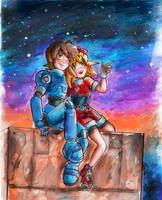 MegaMan Legends-Watching the Night sky by Laurence-L