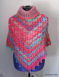 Turtle neck bavarian stitch poncho