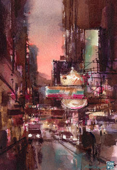 City in Pink - watercolor