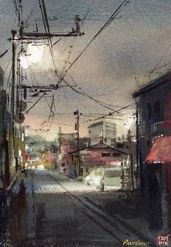 Silent Street - in watercolor