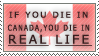 'if you die in canada' stamp