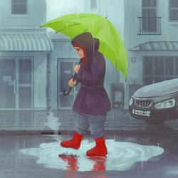 In the rain.