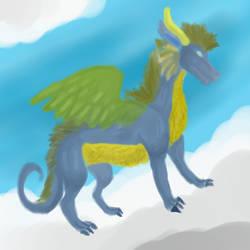 Blueish dragon by dragonrace