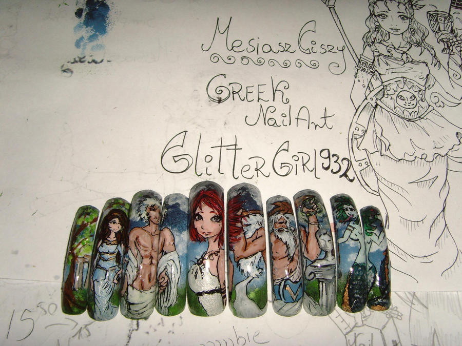 HALLOWEEN Greek nails on ETSY by MesiaszCiszy