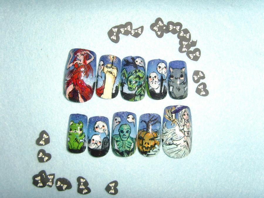 halloween nail art false tips ETSY