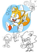 Tails And Sonic Doodles by pkluccas