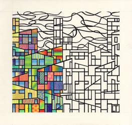 Metropoli Contemporanea - disegno in esecuzione 4^ by LittleLiuk