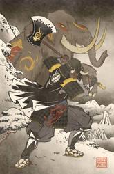 Ukiyo-e Black Ranger - MMPR Comic Variant Cover by swadeart