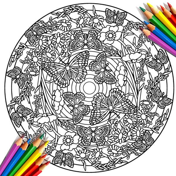 Butterflies Mandala Coloring Book Page By DazzlingCraftShacK