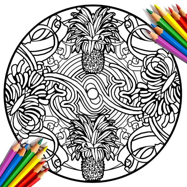 pineapple coloring page by dazzlingcraftshack on deviantart
