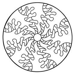 Abstract Waves Mandala Coloring Page