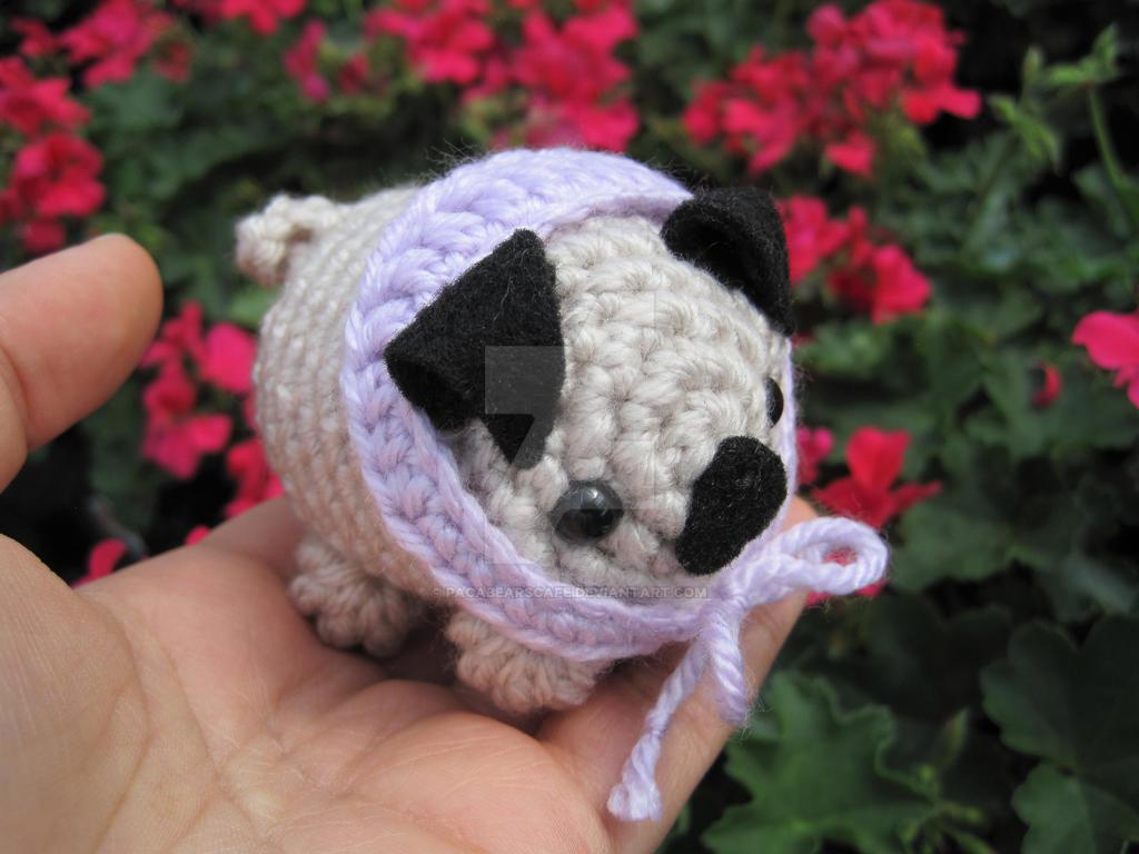 Pug w/Lilac Handkercheif Amigurumi by PacaBearsCafe