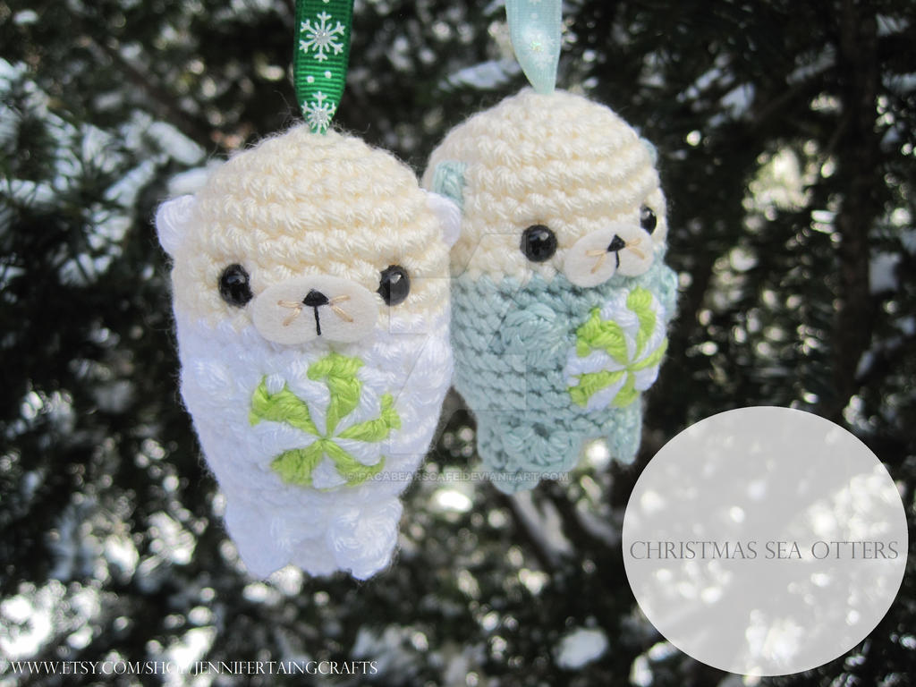 Christmas Sea Otter Ornaments w/Peppermint Candies by PacaBearsCafe