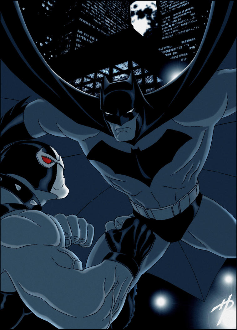 Batman Fights Bane by Hal-2012