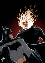 Batman Battles Ghost Rider in color by Hal-2012